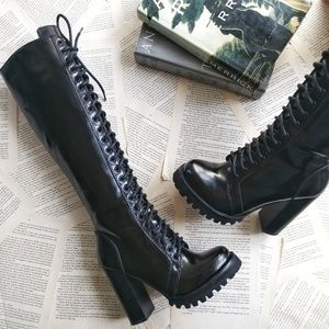 JEFFREY CAMPBELL Legion Knee High Leather Boots